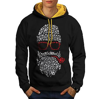 Santa Swag Cool Christmas Men Black (Gold Hood)Contrast Hoodie | Wellcoda