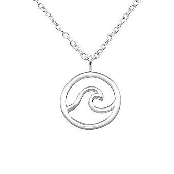 Wave - 925 Sterling Silver Plain Necklaces - W32223X