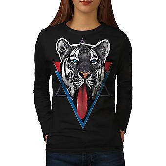 Tiger Tongue Women BlackLong Sleeve T-shirt   Wellcoda