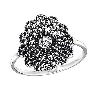 Flower - 925 Sterling Silver Jewelled Rings - W30993x