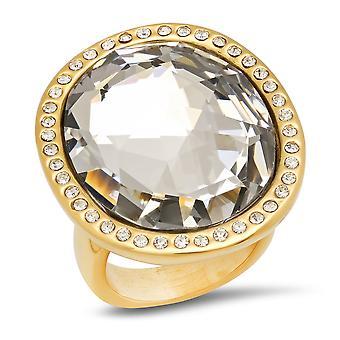 السيدات 18 ك الفولاذ المقاوم للصدأ مطلي الذهب خاتم الماس محاكاة كوكتيل
