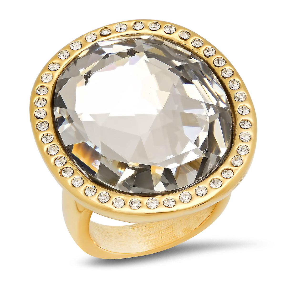 Ladies 18K Gold Plated Stainless Steel Simulated Diamond Cocktail Ring