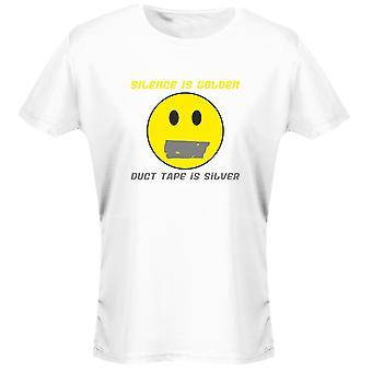 Tystnad är Golden Duct Tape är Silver rolig dam T-Shirt 8 färger av swagwear