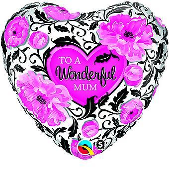QUALATEX 18inch merveilleuse maman coeur en forme de ballon de papier d'aluminium