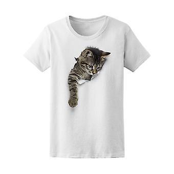 Kitty im Loch Tabby Katze immer Tee Frauen-Bild von Shutterstock