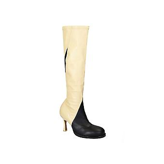 C�line knee high boots in black/off white soft leather