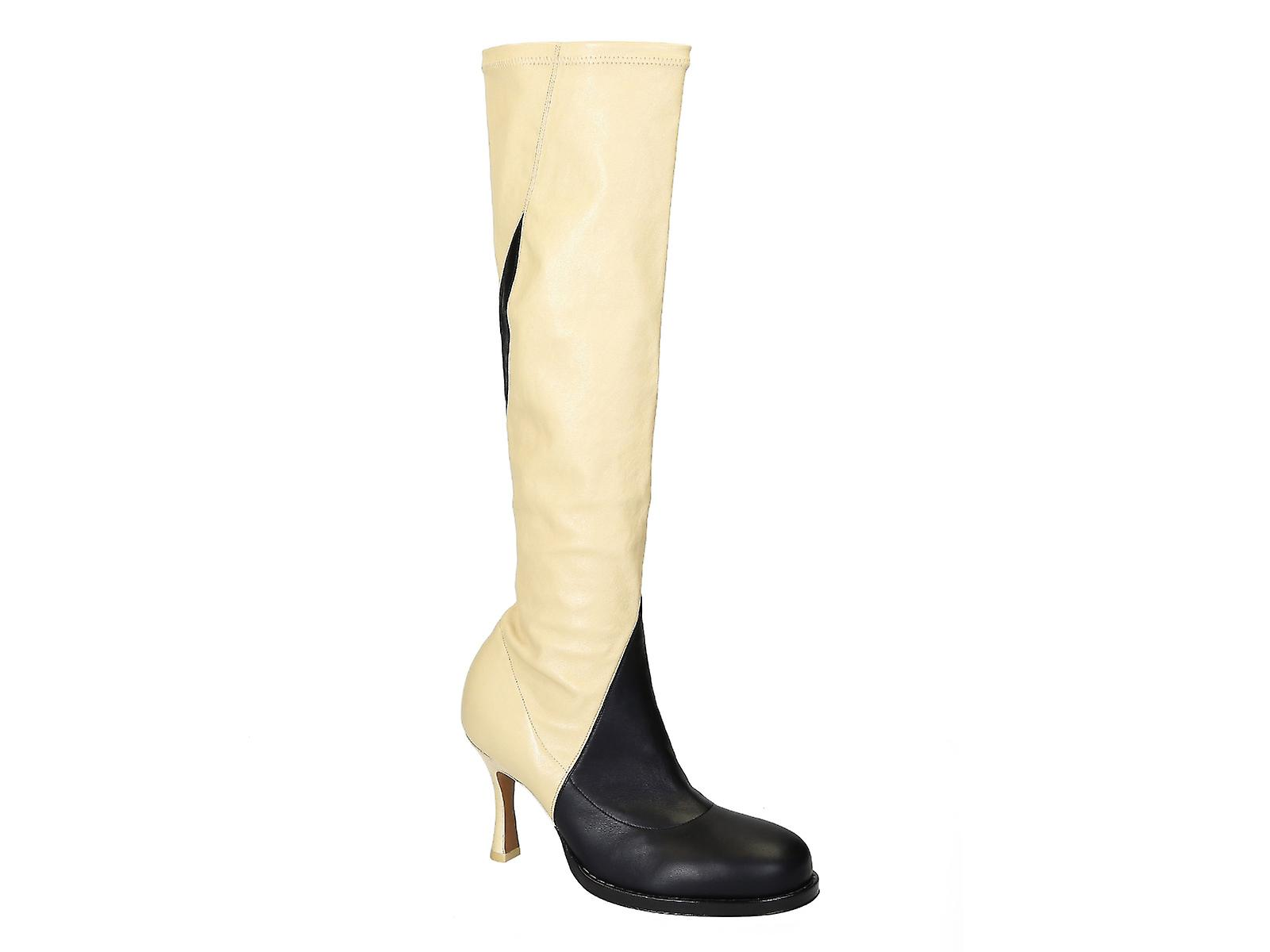 C�line knee high boots in black/off white soft leather iRjct