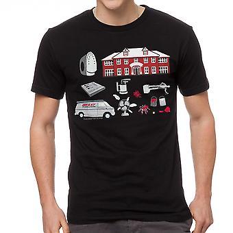 Maison seule des pièges dessiner T-shirt noir hommes