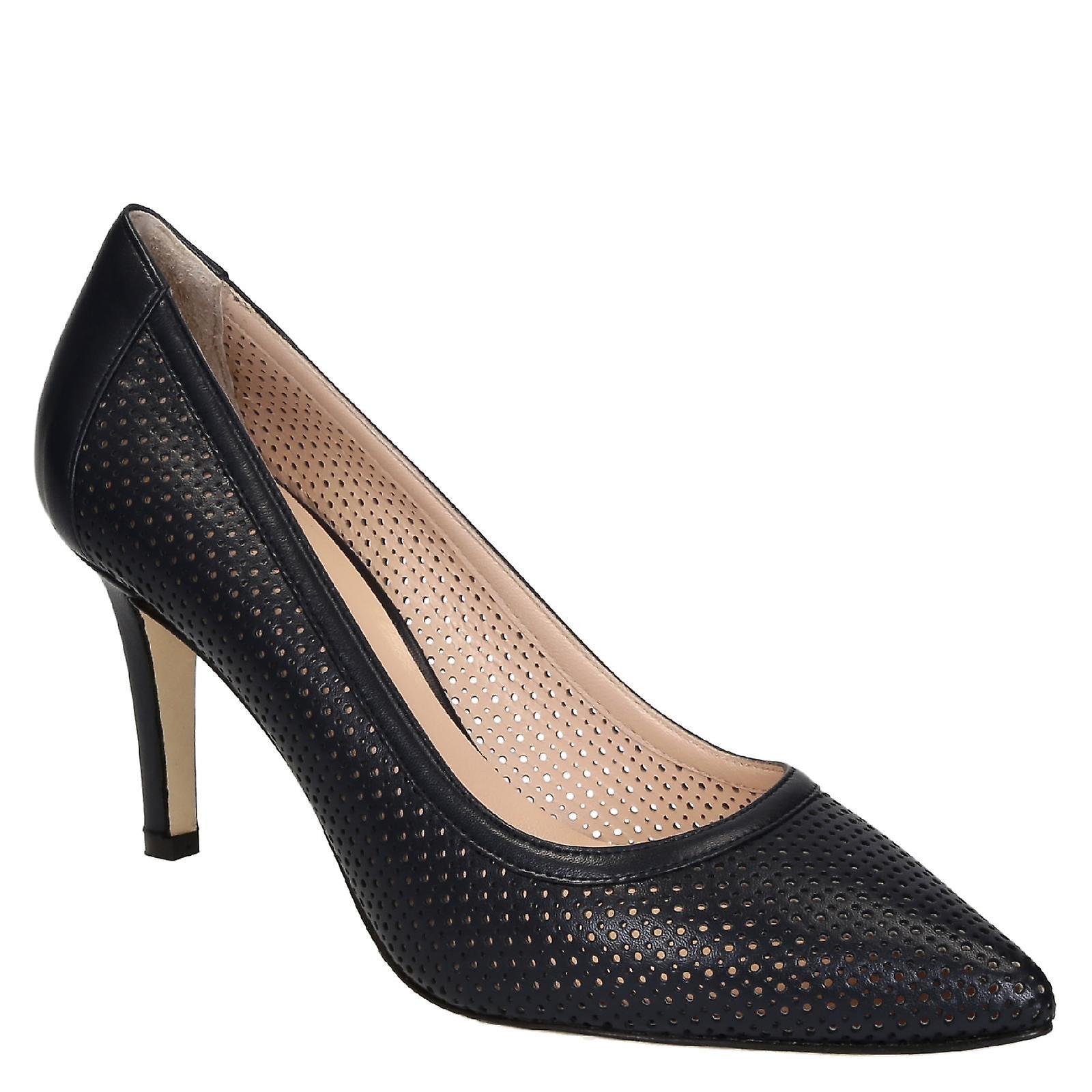 Leonardo Shoes Women's blue openwork calf leather pumps with stiletto heels pMbN5