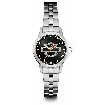 Harley Davidson Black Logo Crystal Set Dial Stainless Steel Bracelet 76L182 Watch