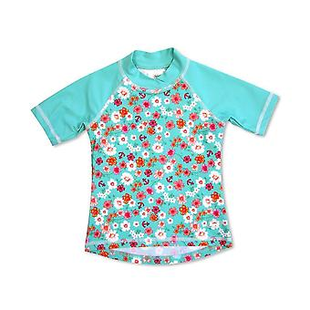 Banz dziewczyny UV Krótki rękaw Top wysypka - kwiaty