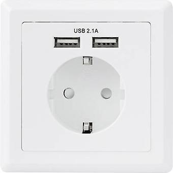 בסיס טק 1425527-שקעים לכבל-מטען כולל USB IP20 לבן