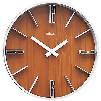 Wall clock quartz analog silver metal frame wood look Walnut colours round ø 30 cm