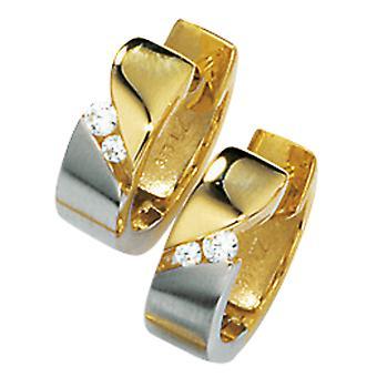أقراط هوب 333/-G أقراط الذهب طوق الأقراط الذهب مع الزركونيا جزئيا الروديوم مطلي