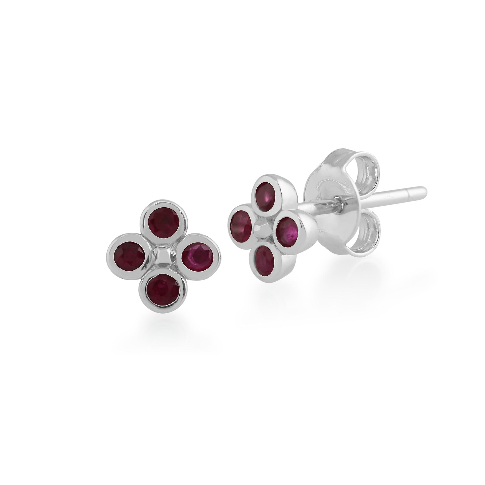 Gemondo Sterling Silver 0.33ct Ruby Cluster Earrings