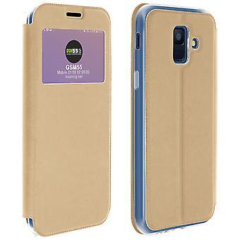 Venster flip case, flip wallet case met standaard voor Samsung Galaxy A6 - goud