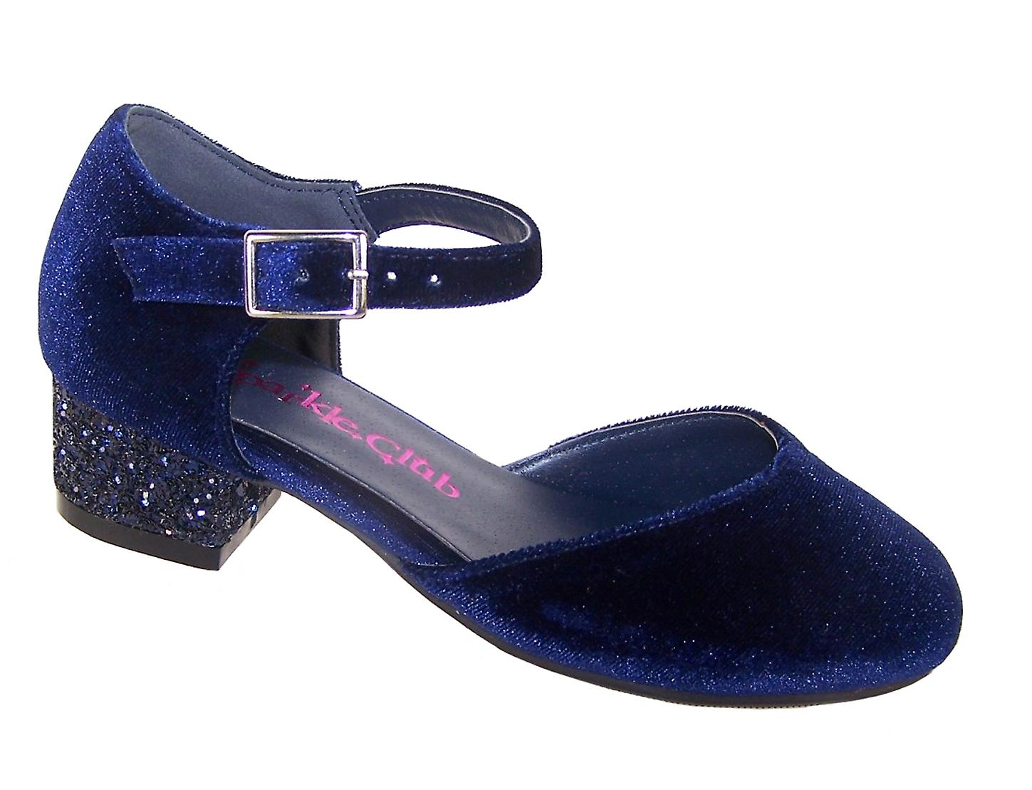 Girls dark blue velvet low heeled party shoes