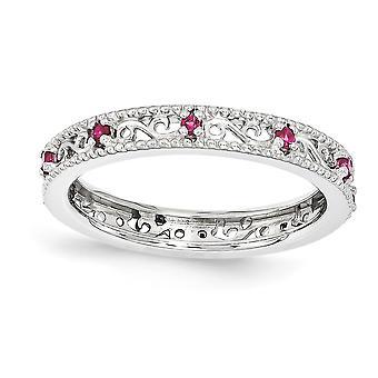 3mm 925 Sterling Argento lucido Prong Prong Set Rhodium placcato Espressioni impilabili Creato Ruby Ring gioielli regali per Wome