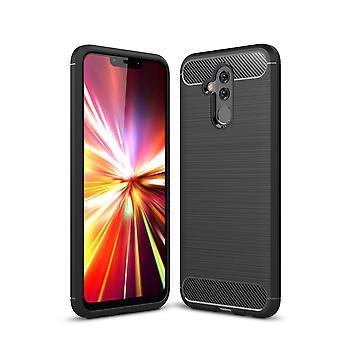 Huawei Mate 20 Lite TPU Case Carbon Fiber Optik Brushed Schutz Hülle Schwarz