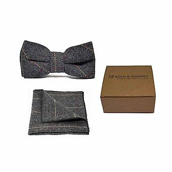 Muszka & placu kieszeni zestaw luksusowych jodełkę węgiel drzewny szary Tweed mężczyzn | Boxed