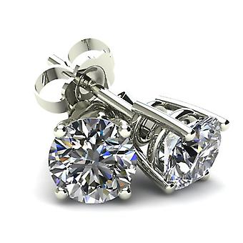 .40Ct Runde natürliche SI1-SI2 Diamant Ohrstecker in 14K weiß & gelb Gold Basket Einstellung