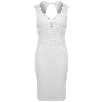 Dames haak V hals Floral Lace getextureerde Keyhole Open rug Bodycon jurk