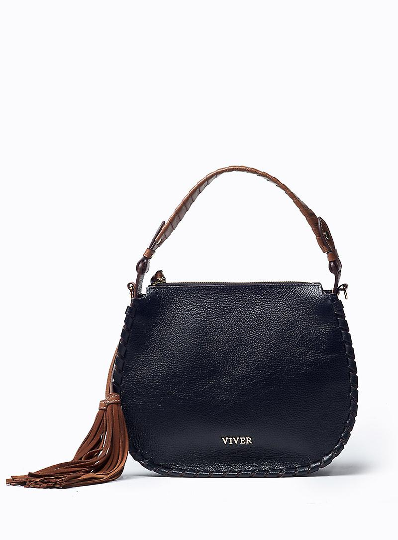 Viver Leather Womens Satchel Avril Black