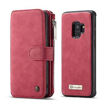 CASEME Samsung Galaxy S9 Portefeuille en cuir rétro Case-rouge