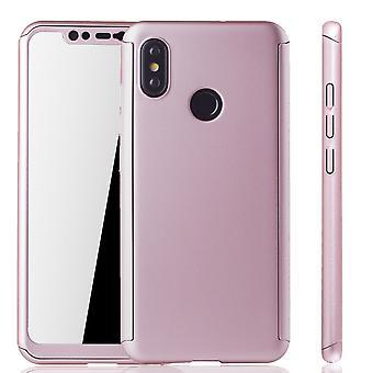 Xiaomi MI 8 móvil completo protección-caso funda tanque protección cristal rosa