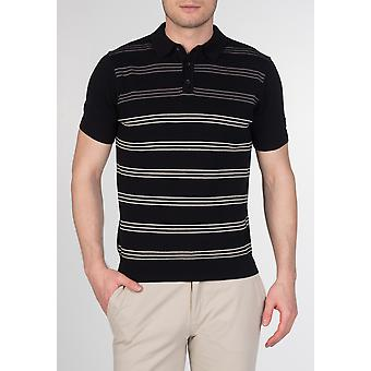 Merc PENGE, men's cotton striped knit polo with short sleeves and ribbed hems