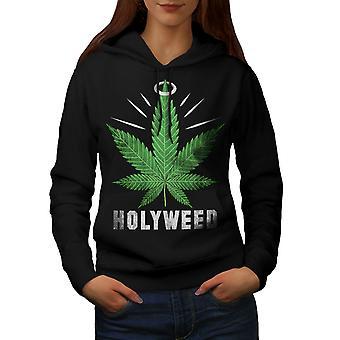 Weed Canabis Herb Women BlackHoodie | Wellcoda