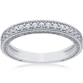1 / 2ct Vintage Diamond Wedding Ring 14K Weissgold