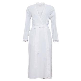 Cyberjammies 1315 Women's Nora Rose Pearl Beyaz Benekli Sabahlık Salon Elbisesi