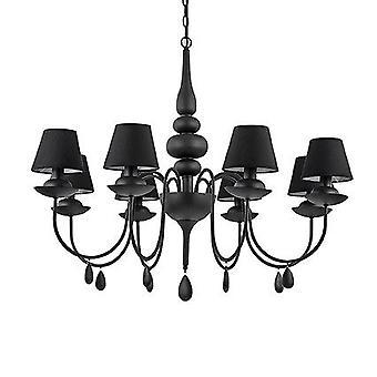 Ideal Lux-Blanche matný čierny osem ľahký luster s odtieňmi IDL111896