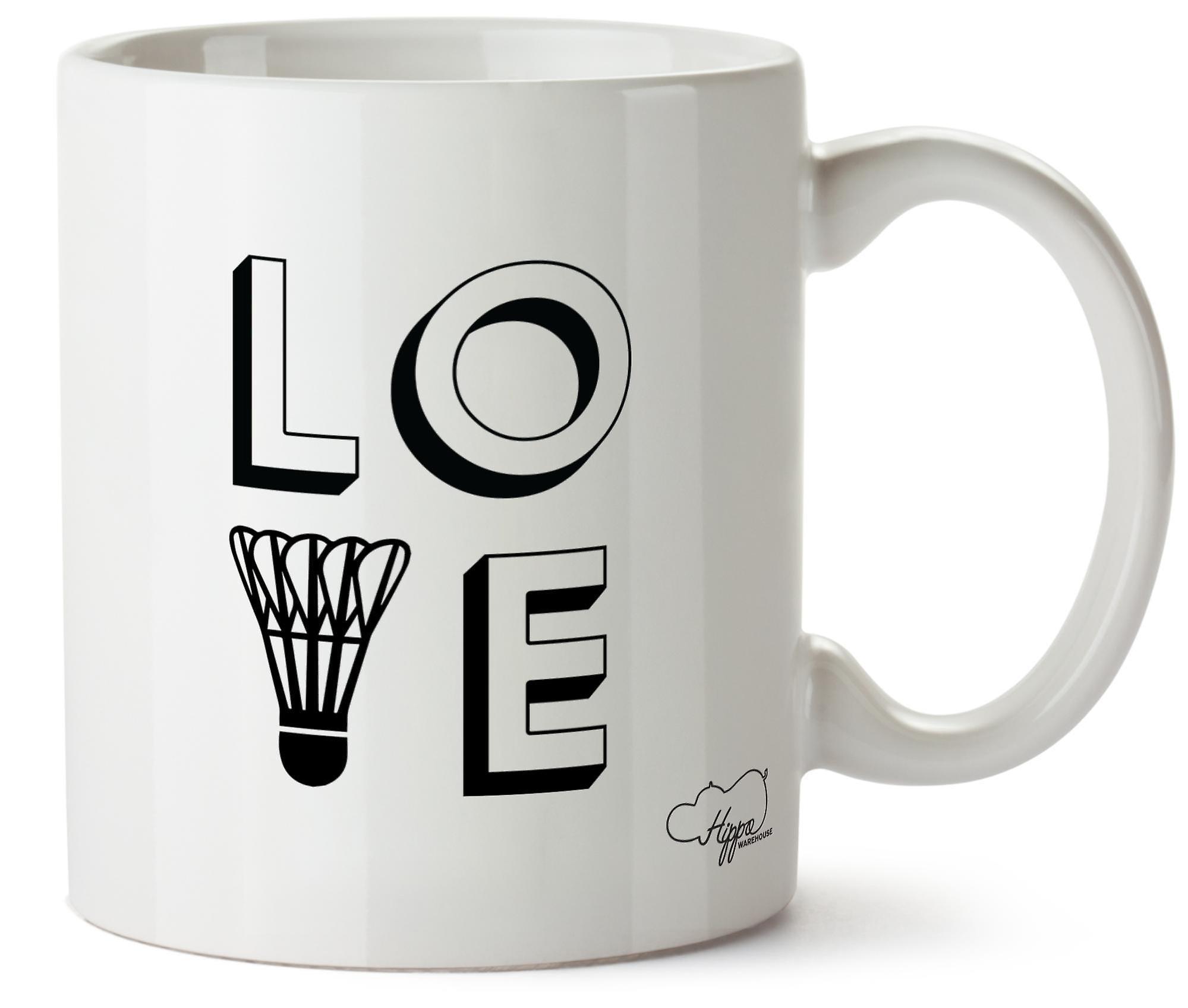 Hippowarehouse Love Badminton Printed Mug Cup Ceramic 10oz