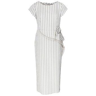 Paola Collection Cap Sleeve Stripe Peplum Maxi Dress