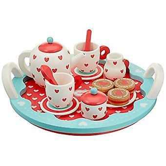 Indigo Jamm houten harten thee Set met lade - 13 delige Set