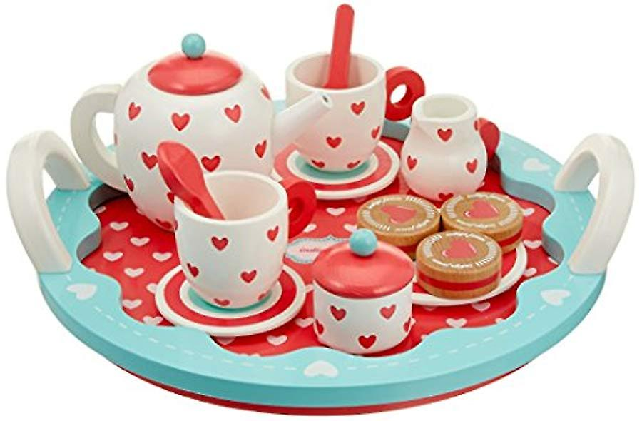 Indigo Jamm Wooden Hearts Tea Set with Tray - 13 Piece Set