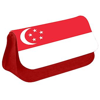 Singapore Flag Printed Design Pencil Case for Stationary/Cosmetic - 0157 (Red) by i-Tronixs