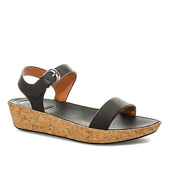 Womens Fitflop Bon Ii Leather Back Strap Sandals In All Black