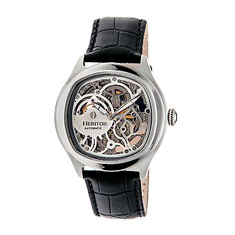Heritor Automatic Odysseus Leather-Band Skeleton Watch - Silver