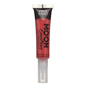 Cara y cuerpo de pintura con pincel aplicador por Luna creaciones - 15ml - rojo