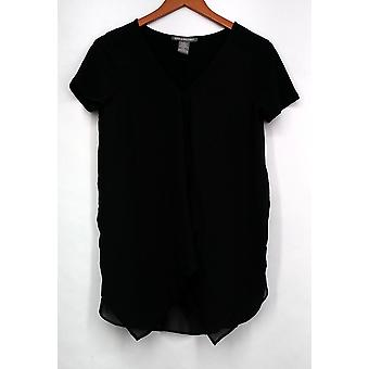 Kate & Mallory Top Mixed Media Short Sleeved Front Ruffle Black A426071