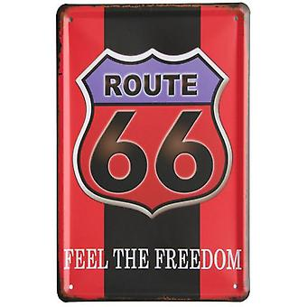 Wellindal Printed Metal Box Vintage Red Black 66 Route 15X21- Hcn1355-87