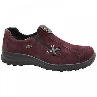 Rieker Showerproof Slip On Red Suede Shoe