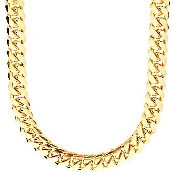 Sterling 925 Silver curb chain - MIAMI CUBAN 10 mm gold