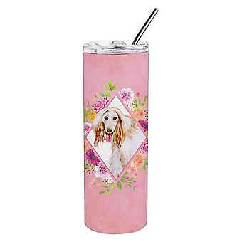 Afghan Hound Pink Flowers Double Walled Stainless Steel 20 oz Skinny Tumbler