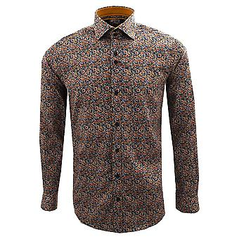 Guide London Orange And Blue Small Floral Print Long Sleeve Mens Shirt