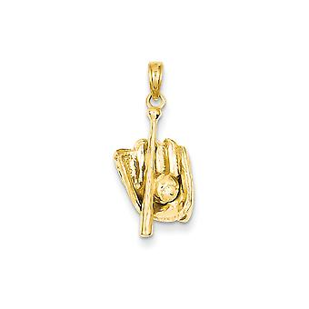 14k Yellow Gold Polished 3 Dimensional Glove Bat Ball Baseball Pendant Necklace Measures 23.6x11.1mm Jewelry Gifts for W