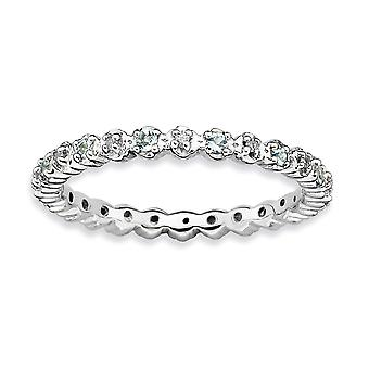 925 Sterling Silver Polished Prong set Rhodium plated Stackable Expressions Aquamarine and Diamond Ring Jewelry Gifts fo
